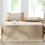多喜爱(Dohia)凉席 冰丝空调凉席 三件套折叠席子 花团锦簇 金色 1.5米床 150*200cm
