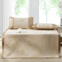 多喜愛(Dohia)涼席 冰絲空調涼席 三件套折疊席子 花團錦簇 金色 1.5米床 150*200cm