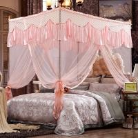 迎馨 床品家纺 蕾丝宫廷式三开门蚊帐 加粗加高不锈钢支架 1.5米床玉色