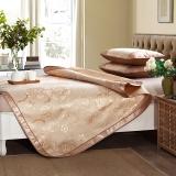 迎馨 床品家纺 双人大提花冰丝席 可折叠夏凉席子三件套 适用1.5米床 国色牡丹 金