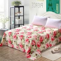艾薇 床品家纺 双人床单单件纯棉被单1.5床/1.8床230*250(国色牡丹)