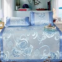 迎馨 床品家纺 加大双人大提花冰丝席 可折叠夏凉席子三件套 适用1.8米床 花团锦簇 蓝