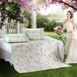 水星家纺 冰丝席子可折叠凉席二件套防滑绑带 夏凉印花席 夏沫之晨 床上用品加大单人1.2米床