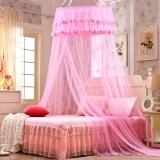 迎馨 床品家纺 宫廷式圆顶吊顶蚊帐 落地式双人蕾丝公主风格 适用1.5/1.8米床 粉色