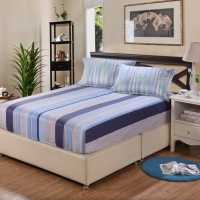 艾薇 雙人床墊套保護罩純棉斜紋防滑床笠1.8米床加大 40支米羅 180*200cm