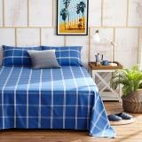 大朴(DAPU)床单家纺 纯棉老粗布床单 山东老粗布工艺 大双人被单 单件 蓝色格子 1.8米床 240*270cm