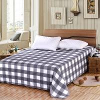 艾薇 床单家纺 全棉斜纹印花被单 双人纯棉床单 单件 品格灰 1.5/1.8米床 230*250cm