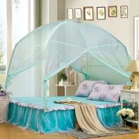 迎馨 床品家纺 加密帐纱 有底拉链式蒙古包可折叠蚊帐 双人1.5米床 水蓝色