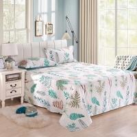 艾薇 床单家纺 纯棉被单 单人学生宿舍全棉床单 单件 绿之源 1/1.2米床 152*210cm