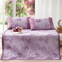 多喜爱(Dohia)凉席 冰丝空调凉席 三件套折叠席子 花团锦簇 紫色 1.8米床 180*200cm