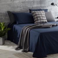 大朴(DAPU)床单家纺 精梳纯棉双层纱床单 双人床单 单件 星宇系列 深蓝 1.5米床 240*240cm