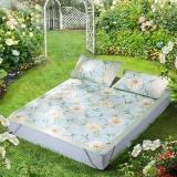 水星家纺 冰丝席子可折叠凉席三件套防滑绑带 空调印花席 海蒂花园 床上用品加大双人1.8米床