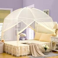 迎馨 床品家纺 加密帐纱 有底拉链式蒙古包可折叠蚊帐 加大双人1.8米床 米黄色