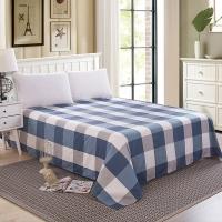艾薇 床单家纺 全棉斜纹印花被单 双人纯棉床单 单件 明亮格 1.5/1.8米床 230*250cm