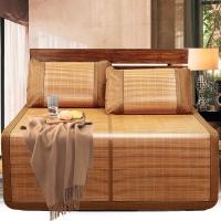 意尔嫚 凉席家纺 生态竹席双面折叠双人竹藤两用席子1.8米 简约水墨席
