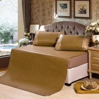 迎馨 床品家纺 防滑软席子 双人提花御藤席三件套 亲肤透气 1.8*2米床 英伦格