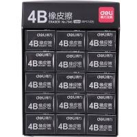 得力(deli)7545 学生考试美术4B橡皮擦 30个装 黑色 32*12*13mm/块
