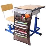 得力(deli)72365 多功能可调课桌挂袋 学生书本收纳袋/挂架/挂书袋 棕