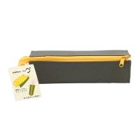 国誉(KOKUYO)日本进口C2对开式扩展型便携式笔袋/铅笔袋/文具袋/收纳袋 墨绿+黄 F-VBF122-3