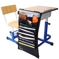 得力(deli)72365 多功能可调课桌挂袋 学生书本收纳袋/挂架/挂书袋 黑色