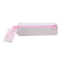 国誉(KOKUYO)日本进口便携式笔袋/铅笔袋/文具袋/收纳袋 C2对开式扩展型 灰粉色 F-VBF122-2