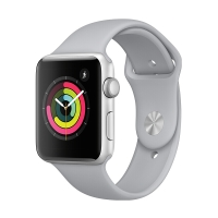 Apple Watch Series 3智能手表(GPS款 38毫米 银色铝金属表壳 云雾灰色运动型表带 MQKU2CH/A)