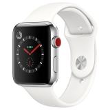 Apple Watch Series 3智能手表(GPS+蜂窝网络款 42毫米 不锈钢表壳 浅白色运动型表带 MQQY2CH/A)