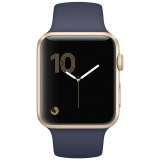 Apple Watch Series 1 智能手表(42毫米金色铝金属表壳 午夜蓝色运动型表带 防水溅 蓝牙 MQ122CH/A)