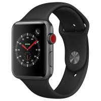 Apple Watch Series 3智能手表(GPS+蜂窝网络款42mm深空灰色铝金属表壳黑色运动型表带 MQQT2CH/A)