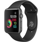Apple Watch Sport Series 1智能手表(42毫米深空灰色铝金属表壳 黑色运动型表带 防水溅 蓝牙 MP032CH/A)