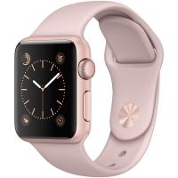 Apple Watch Sport Series 1智能手表(38毫米玫瑰金色铝金属表壳 粉砂色运动型表带 防水溅 蓝牙MNNH2CH/A)