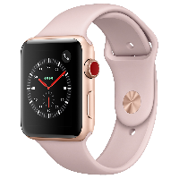 Apple Watch Series 3智能手表(GPS+蜂窝网络款 42毫米 金色铝金属表壳 粉砂色运动型表带 MQQU2CH/A)