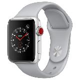 Apple Watch Series 3智能手表(GPS+蜂窝网络款 38毫米 银色铝金属表壳 云雾灰色运动型表带 MQQE2CH/A)