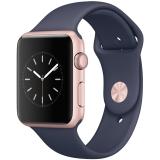 Apple Watch Sport Series 1智能手表(42毫米玫瑰金色铝金属表壳 午夜蓝色运动型表带 防水溅 MNNM2CH/A)