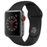Apple Watch Series 3智能手表(GPS+蜂窝网络款38mm深空灰色铝金属表壳黑色运动型表带 MQQF2CH/A)