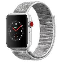Apple Watch Series 3智能手表(GPS+蜂窝网络款 42毫米 银色铝金属表壳 海贝色回环式运动表带 MQQV2CH/A)