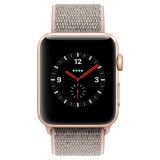 Apple Watch Series 3智能手表(GPS+蜂窝网络款 42毫米 金色铝金属表壳 粉砂色回环式运动表带 MQQX2CH/A)