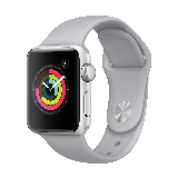 Apple Watch Series 3智能手表(GPS款 42毫米 银色铝金属表壳 云雾灰色运动型表带 MQL02CH/A)