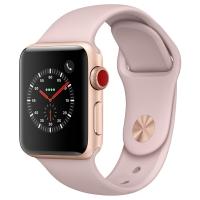 Apple Watch Series 3智能手表(GPS+蜂窝网络款 38毫米 金色铝金属表壳 粉砂色运动型表带 MQQG2CH/A)
