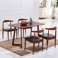 百思宜 现代简约餐桌椅组合长方形小户型饭桌金属仿木纹桌椅套装 胡桃色140*80cm(一桌4椅)