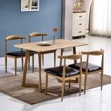百思宜 现代简约餐桌椅组合长方形小户型饭桌金属仿木纹桌椅套装 原木色140*80cm(一桌4椅)
