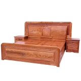 粤顺红木床中式实木床京东自营花梨木大床1.8*2米床头柜3件套 C02