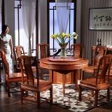 粤顺 红木餐桌 中式缅花圆餐桌京东自营 实木餐桌椅组合 MZ02