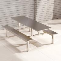 中伟学校员工食堂餐桌椅4人6人8人餐桌连体快餐桌椅组合 6人位不锈钢304定制款