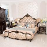 中伟ZHONGWEI 欧式床皮床双人床婚床公主床实木雕花皮床尾-单床土豪金