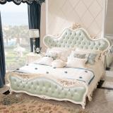 中伟ZHONGWEI欧式床皮床双人床婚床公主床实木皮床尾+床头柜*2组合浅蓝