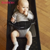 瑞典BABYBJORN Bouncer Balance 柔软婴儿摇椅安抚椅-黑灰网眼