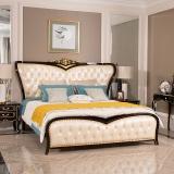 中伟ZHONGWEI欧式床皮床双人床婚床公主床实木皮床尾-单床香槟色