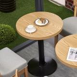 中伟简约餐桌休闲吧快餐奶茶店餐桌书吧咖啡馆图书室座椅餐厅餐饮桌椅组合圆形桌含椅子600*600*750