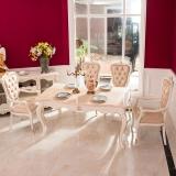 中伟ZHONGWEI欧式餐桌 豪华餐桌 天然大理石实木长方形餐桌椅组合餐桌梦幻白